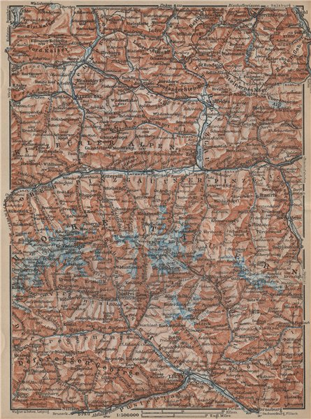 Associate Product HOHE TAUERN Kitzbuhel Bad Gastein Lienz Berchtesgaden Grossglockner 1929 map