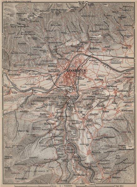 Associate Product INNSBRUCK ENVIRONS Umgebung. Thaur Gotzens Igls. Austria Österreich 1929 map