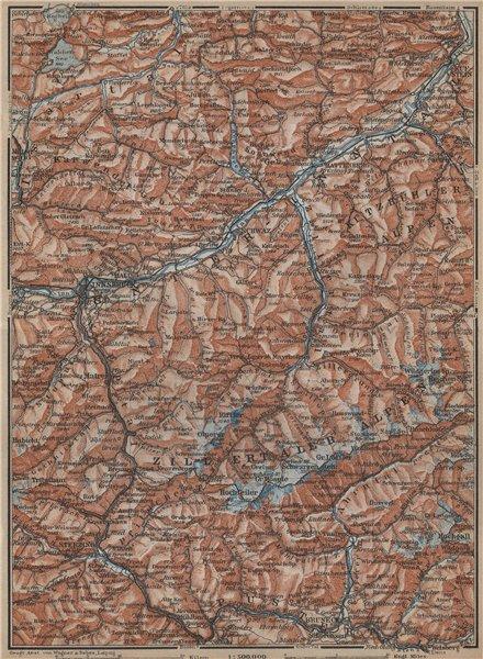 Associate Product ZILLERTHAL/PUSTERTHAL. Igls Mayrhofen Söll Gerlos Oberau Brixen Fügen 1929 map