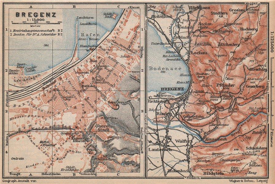 Associate Product BREGENZ town city stadtplan and environs. Österreich Austria karte 1929 map