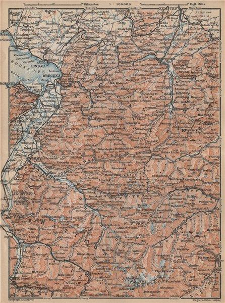 Associate Product VORARLBERG & BREGENZER WALD. Bludenz St Anton Zürs Lech See Ischgl 1929 map
