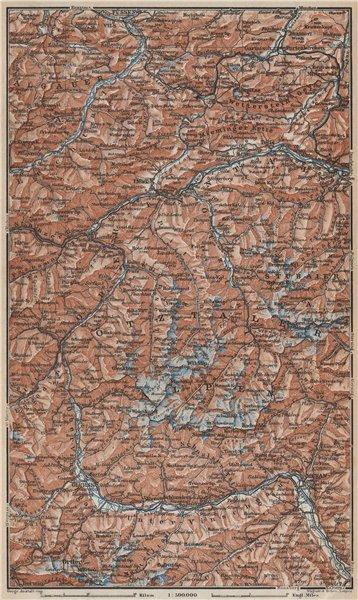 Associate Product TYROL/ UPPER INNTHAL ÖTZTHALER ORTLER STUBAIER ALPEN topo-map. Austria 1929