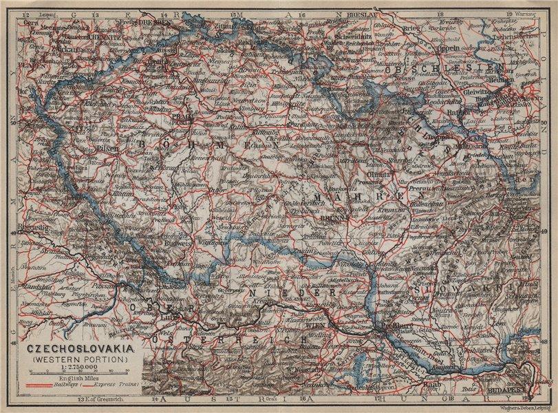 Associate Product CZECHOSLOVAKIA (WESTERN PORTION). Bohemia Moravia. Czech Republic mapa 1929