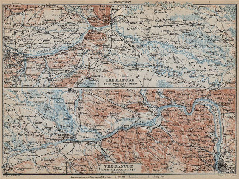 Associate Product DANUBE DONAU RIVER. Vienna/Wien-Bratislava-Estergom-Vac-Budapest karte 1929 map