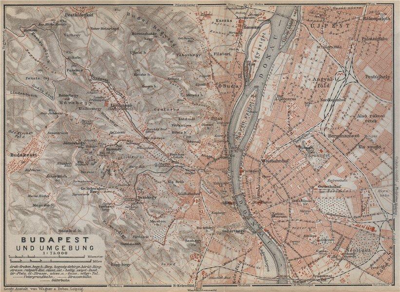 Associate Product BUDAPEST city plan/environs Budakeszi Districts 1 2 3 5 6 7 8  9 13 14 1929 map