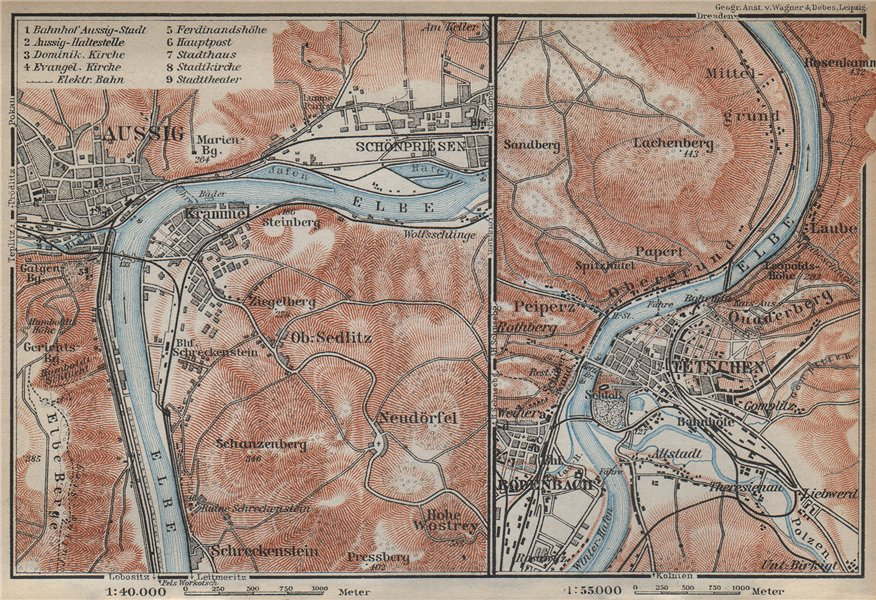 Associate Product USTI NAD LABEM & DECIN areas. Podmokly Aussig Tetschen. Czech Republic 1929 map