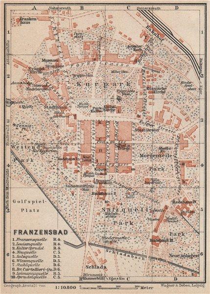 Associate Product FRANTISKOVY LAZNE (FRANZENSBAD) town city plan mesta. Czech Republic 1929 map