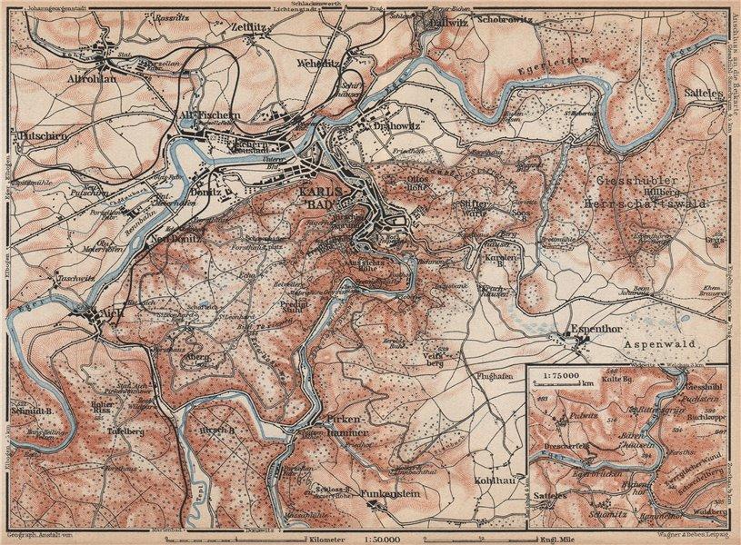 Associate Product KARLOVY VARY (CARLSBAD KARLSBAD) environs Brezova Stara Role Czech Rep 1929 map