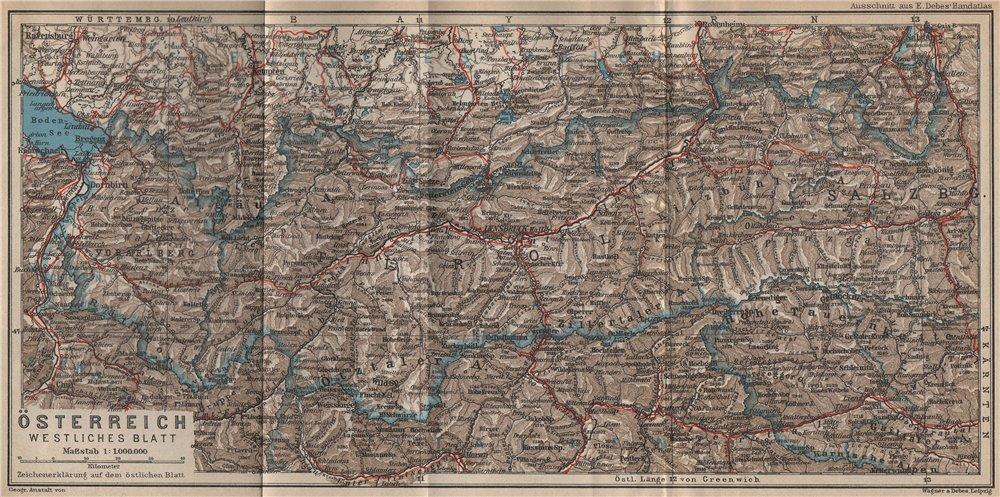 Associate Product ÖSTERREICH Westliches blatt. AUSTRIA west sheet. Tyrol &c. Railways 1929 map