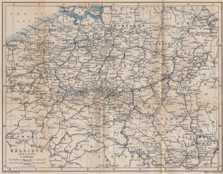 Associate Product BELGIUM BELGIQUE BELGIE General map. Provinces carte. BAEDEKER 1897 old