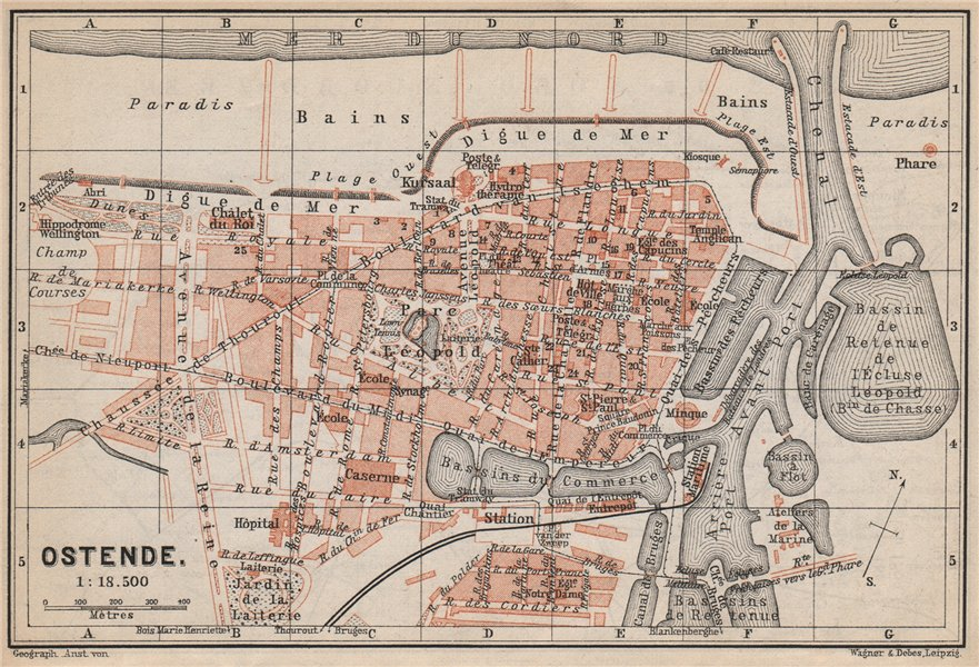 Associate Product OOSTENDE OSTEND OSTENDE antique town city plan. Belgium carte 1897 old map
