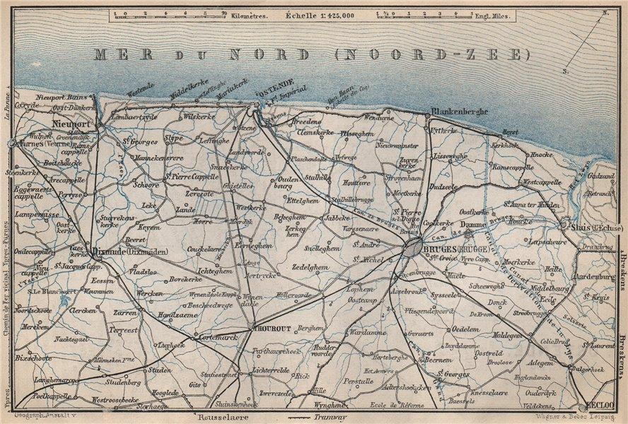 Associate Product BELGIAN NORTH SEA COAST. Bruges Ostende Diksmuide Niuewpoort. Belgium 1897 map