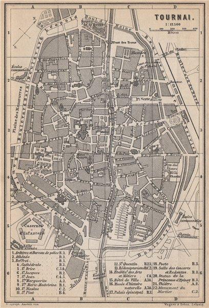 Associate Product TOURNAI DOORNIK antique town city plan. Belgium carte. BAEDEKER 1897 old map