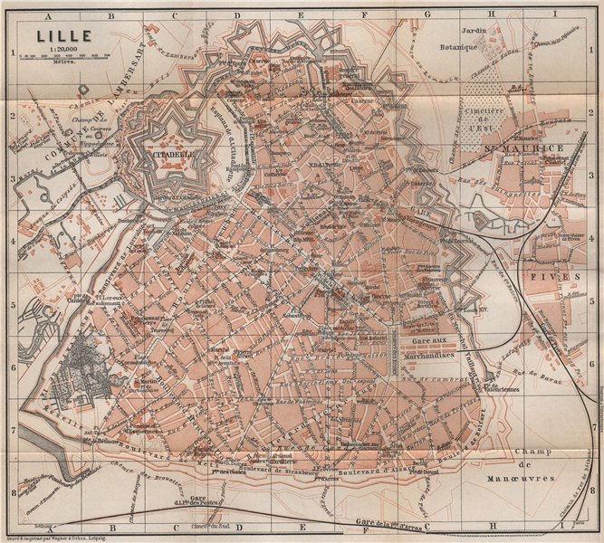 Associate Product LILLE antique town city plan de la ville. Nord. France carte. BAEDEKER 1897 map