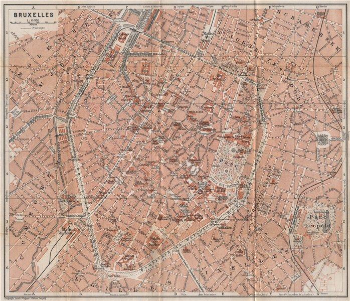 Associate Product BRUSSELS BRUXELLES BRUSSEL town city plan de la ville. Belgium carte 1897 map