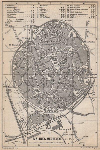 Associate Product MALINES MECHELEN MECHLIN antique town city plan. Belgium carte 1897 old map