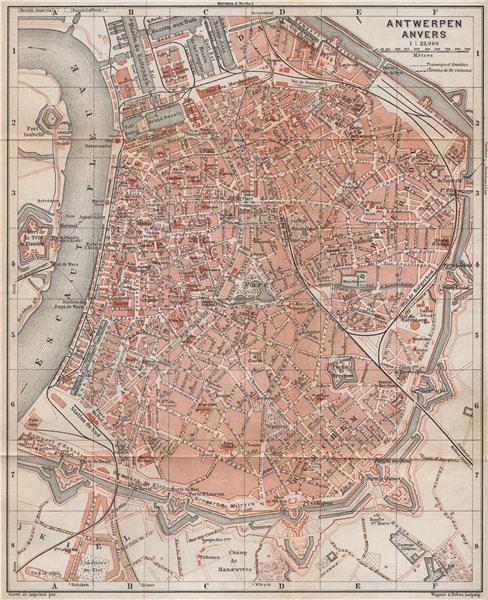 Associate Product ANTWERP ANTWERPEN ANVERS antique town city plan. Belgium carte 1897 old map