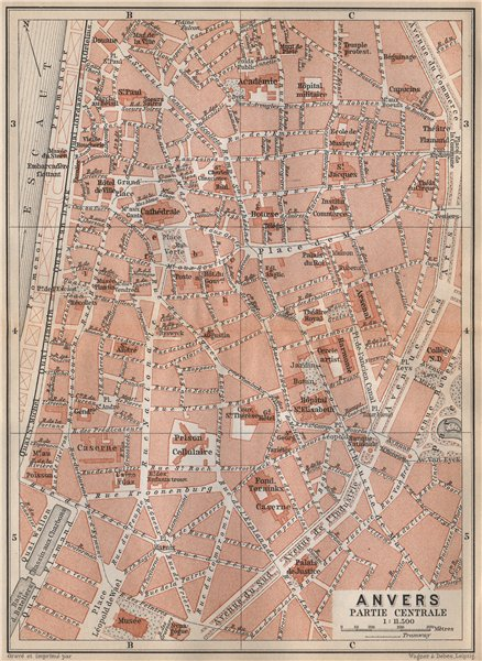 Associate Product ANTWERP ANTWERPEN ANVERS antique town centre. City plan. Belgium carte 1897 map