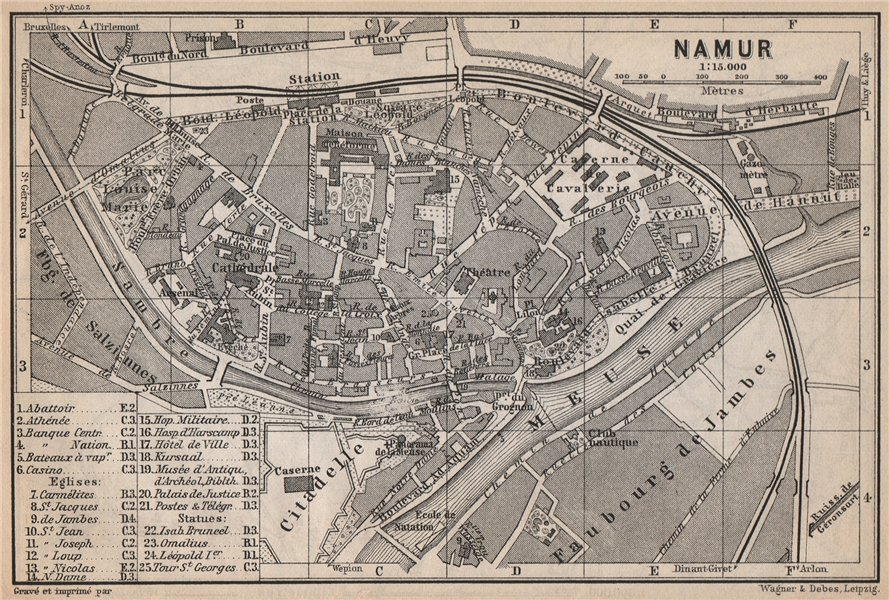 Associate Product NAMUR NAMEN NAMEUR antique town city plan. Belgium carte. BAEDEKER 1897 map