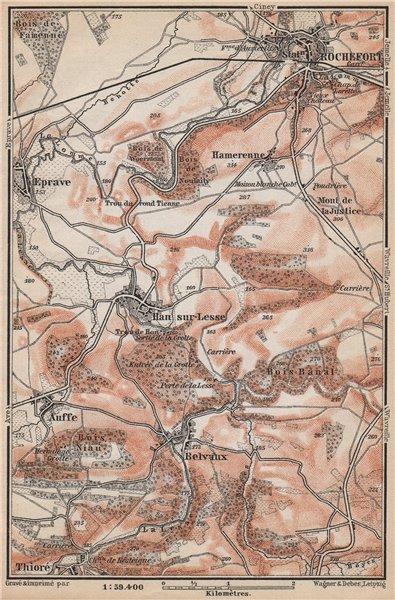 Associate Product ROCHEFORT & HAN-SUR-LESSE environs. Auffe Belvaux Eprave. Belgium 1897 old map