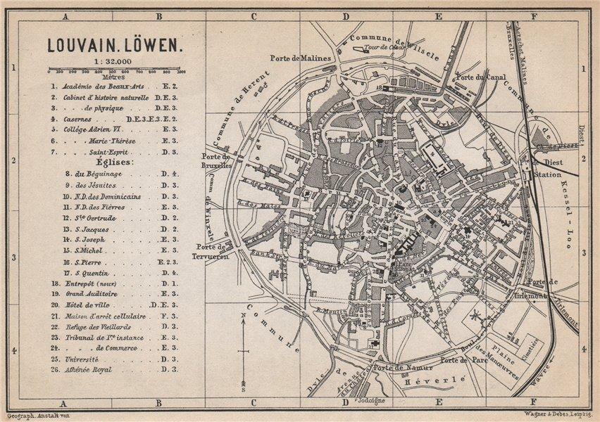 Associate Product LEUVEN LOUVAIN LÖWEN antique town city plan. Belgium carte. BAEDEKER 1897 map