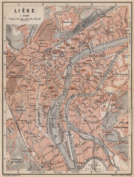 Associate Product LIEGE LIÈGE LUIK antique town city plan. Belgium carte. BAEDEKER 1897 old map