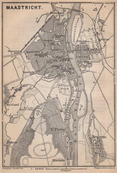Associate Product MAASTRICHT town city stadsplan. Heugem Maestricht. Netherlands kaart 1897 map