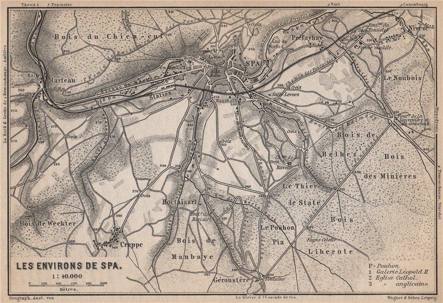 Associate Product SPA ENVIRONS. Creppe. Belgium carte. BAEDEKER 1897 old antique map plan chart
