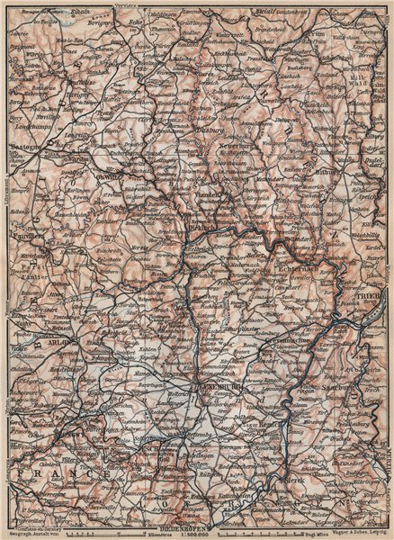 Associate Product THE GRAND-DUCHY OF LUXEMBURG LUXEMBOURG topo-map carte. BAEDEKER 1897 old