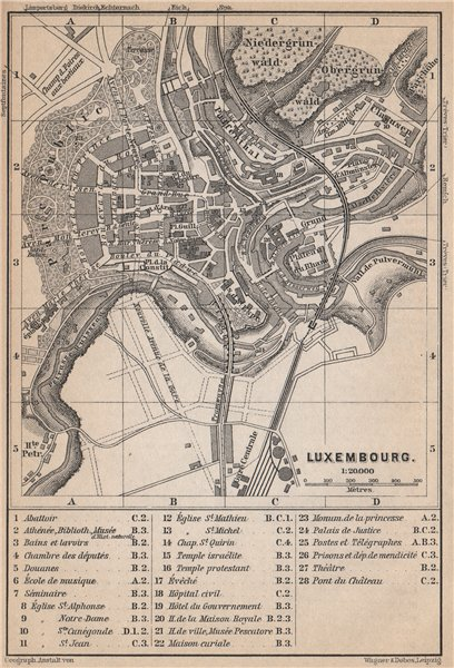 Associate Product LUXEMBURG LUXEMBOURG antique town city plan carte. BAEDEKER 1897 old map