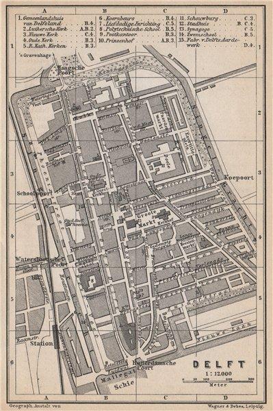 Associate Product DELFT antique town city stadsplan. Netherlands kaart. BAEDEKER 1897 old map