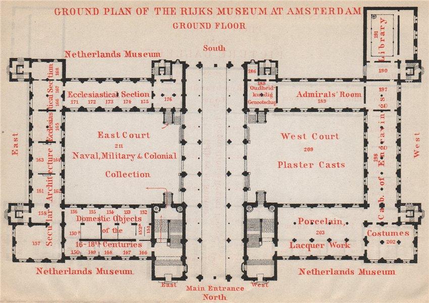 Associate Product RIJKS MUSEUM ground floor plan, Amsterdam. Netherlands kaart. BAEDEKER 1897 map