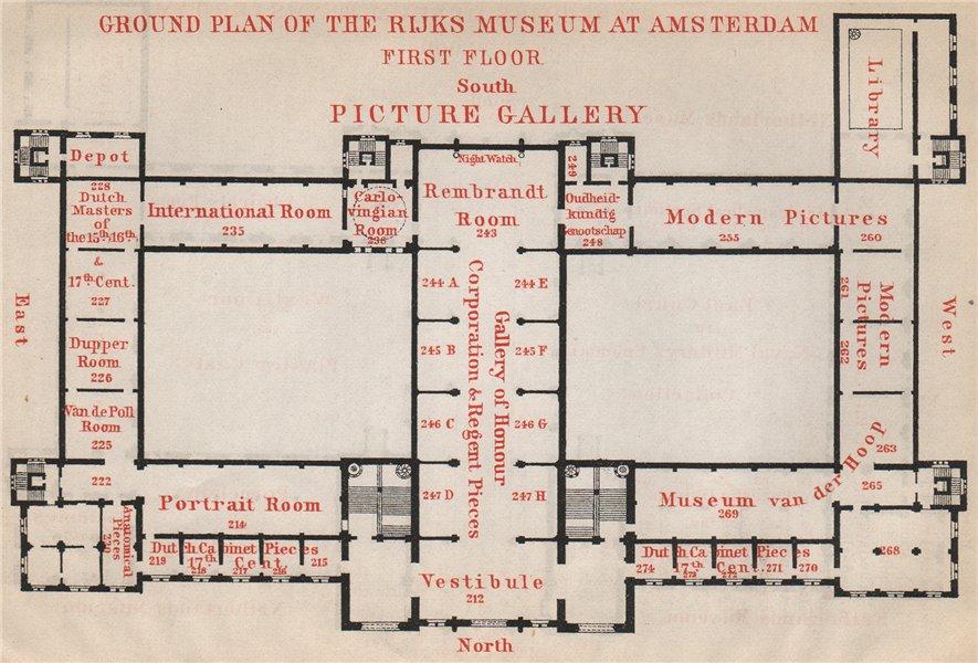 Associate Product RIJKS MUSEUM first floor plan, Amsterdam. Netherlands kaart. BAEDEKER 1897 map