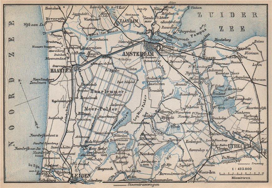 Associate Product AMSTERDAM environs. Utrecht Leiden haarlem Zaandam. Netherlands kaart 1897 map