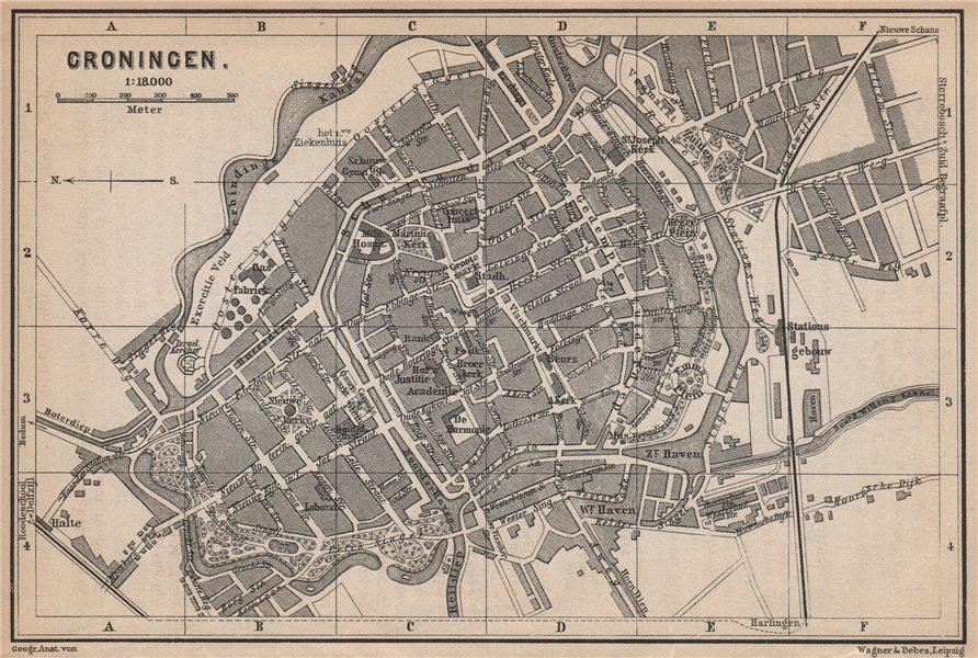 Associate Product GRONINGEN antique town city stadsplan. Netherlands kaart. BAEDEKER 1897 map
