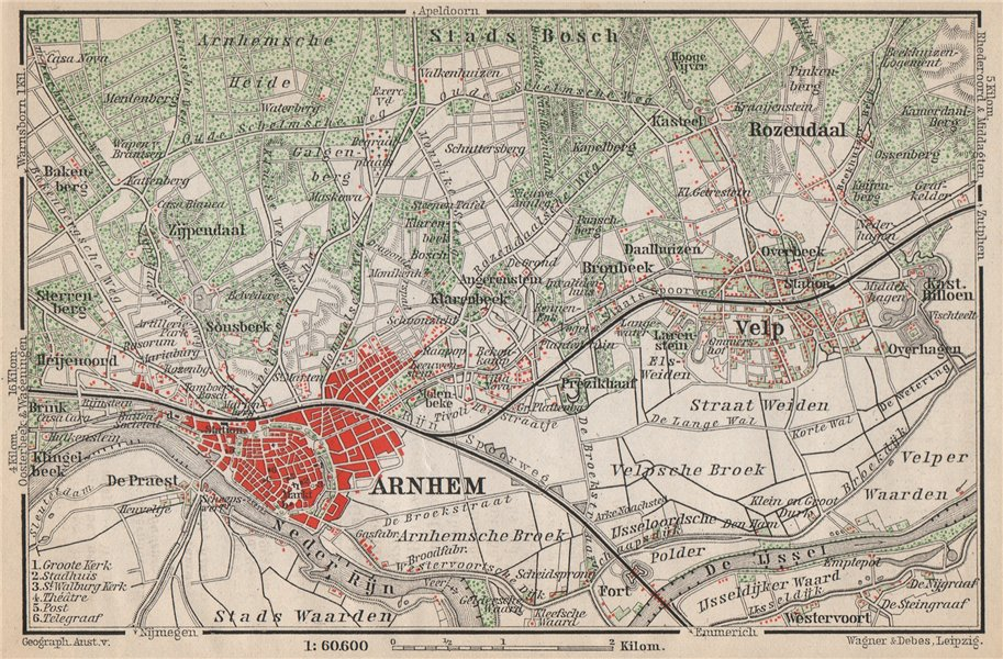 Associate Product ARNHEM ENVIRONS. Velp. Netherlands kaart. BAEDEKER 1897 old antique map chart