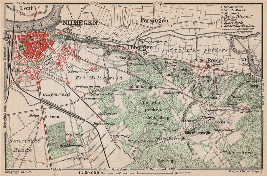 Associate Product NIJMEGEN environs. Beek Ubbergen Lent. Netherlands kaart. BAEDEKER 1897 map