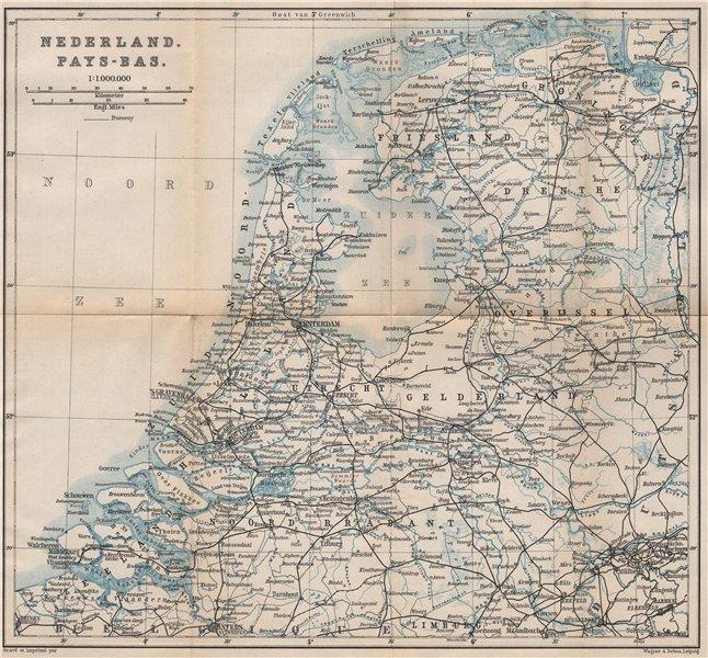 Associate Product HOLLAND NEDERLAND PAYS-BAS General map. Netherlands kaart. BAEDEKER 1897
