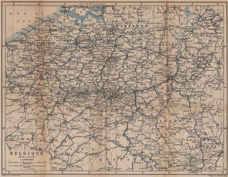 Associate Product BELGIUM BELGIQUE BELGIE General map. Provinces carte. BAEDEKER 1901 old