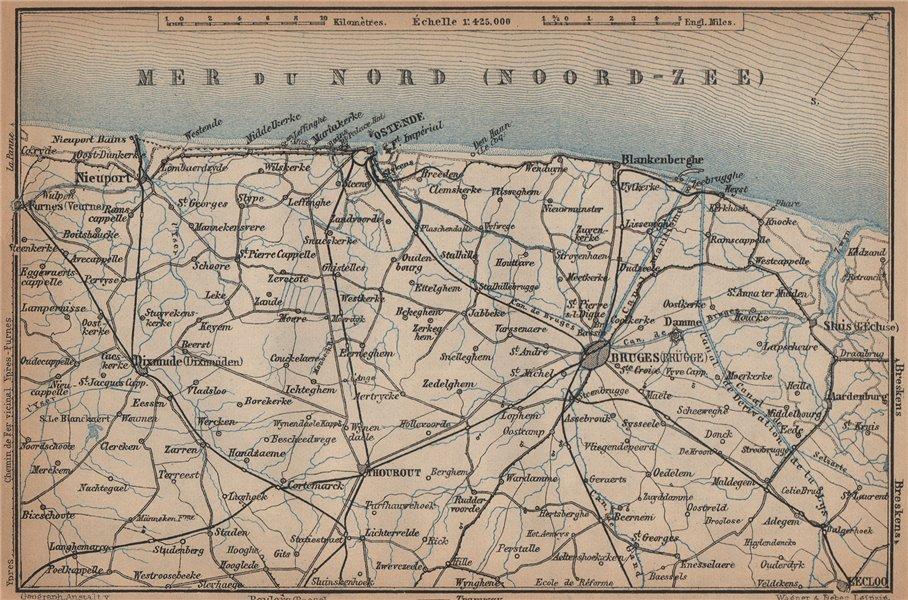 Associate Product BELGIAN NORTH SEA COAST. Bruges Ostende Diksmuide Niuewpoort. Belgium 1901 map