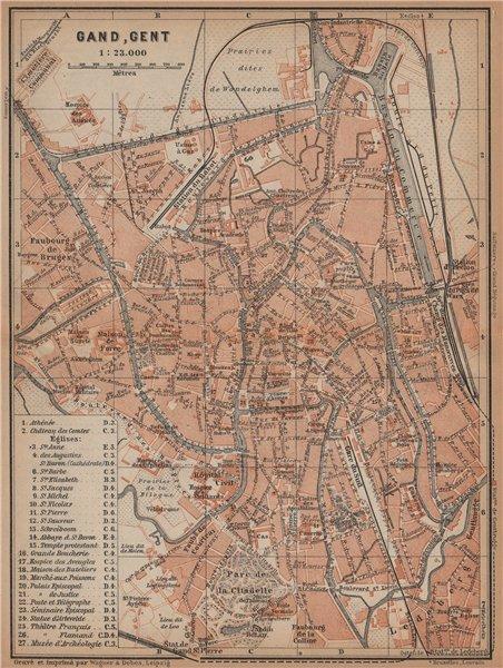 Associate Product GHENT GAND GENT antique town city plan. Belgium carte. BAEDEKER 1901 old map