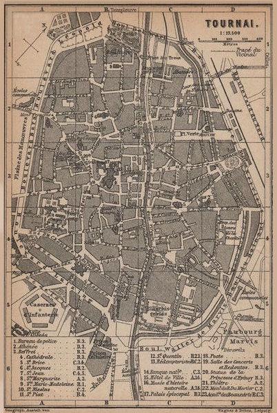 Associate Product TOURNAI DOORNIK antique town city plan. Belgium carte. BAEDEKER 1901 old map