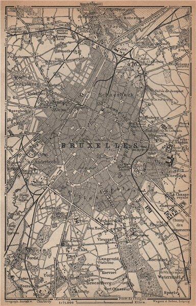 Associate Product BRUSSELS BRUXELLES BRUSSEL environs plan. Belgium carte. BAEDEKER 1901 old map