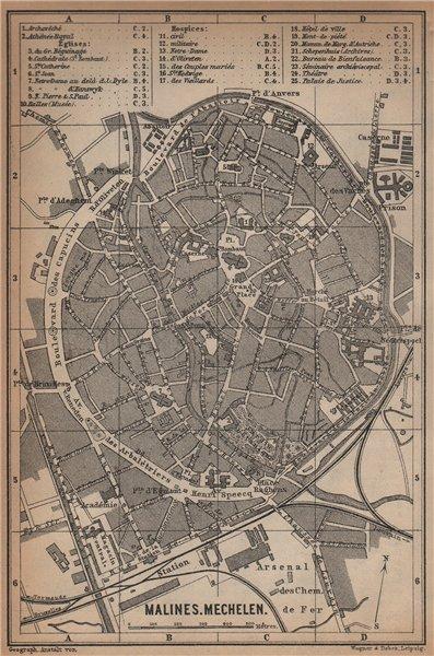 Associate Product MALINES MECHELEN MECHLIN antique town city plan. Belgium carte 1901 old map