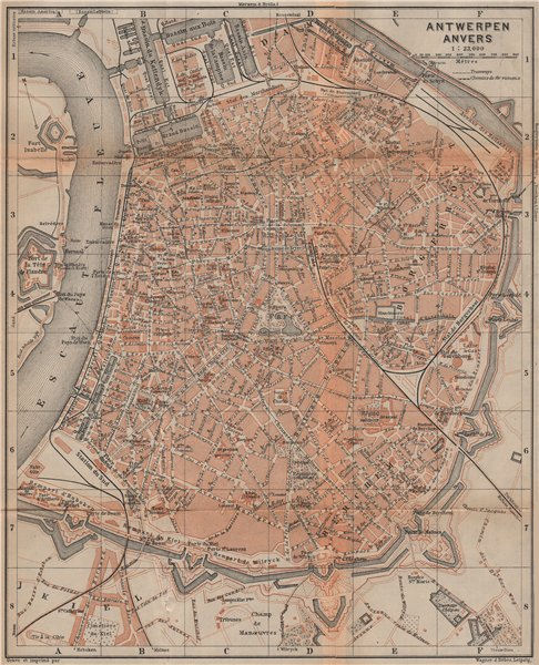 Associate Product ANTWERP ANTWERPEN ANVERS antique town city plan. Belgium carte 1901 old map