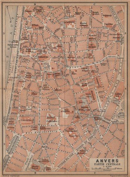 Associate Product ANTWERP ANTWERPEN ANVERS antique town centre. City plan. Belgium carte 1901 map
