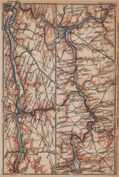 Associate Product MEUSE/MAAS RIVER. Givet-Liège-Namur-Dinant. Belgium carte. BAEDEKER 1901 map