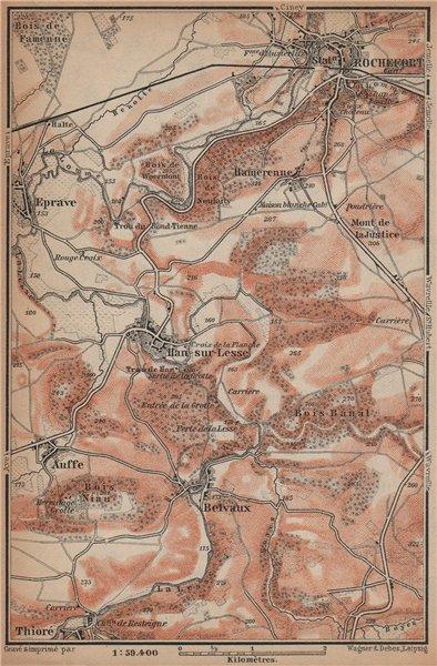 Associate Product ROCHEFORT & HAN-SUR-LESSE environs. Auffe Belvaux Eprave. Belgium 1901 old map