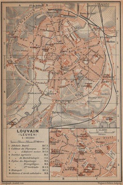 Associate Product LEUVEN LOUVAIN LÖWEN antique town city plan. Belgium carte. BAEDEKER 1901 map