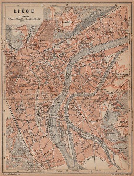 Associate Product LIEGE LIÈGE LUIK antique town city plan. Belgium carte. BAEDEKER 1901 old map